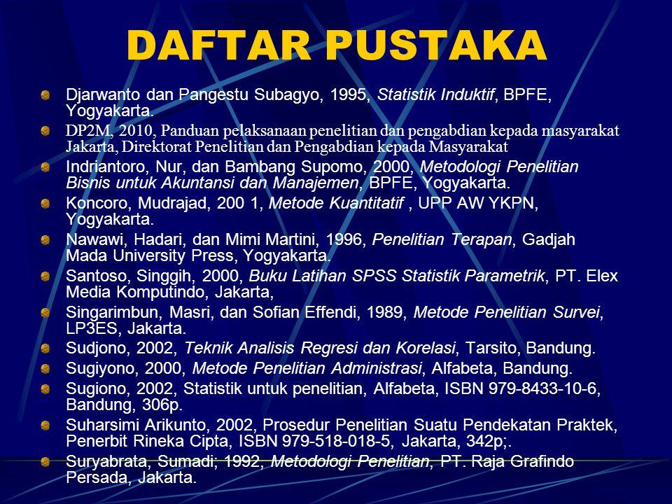 DAFTAR PUSTAKA Djarwanto dan Pangestu Subagyo, 1995, Statistik Induktif, BPFE, Yogyakarta. DP2M, 2010, Panduan pelaksanaan penelitian dan pengabdian k