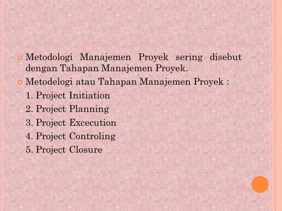 Metodologi Manajemen Proyek sering disebut dengan Tahapan Manajemen Proyek.