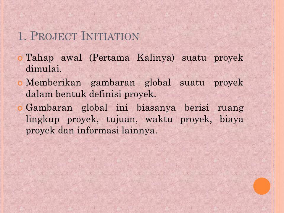 1.P ROJECT I NITIATION Tahap awal (Pertama Kalinya) suatu proyek dimulai.