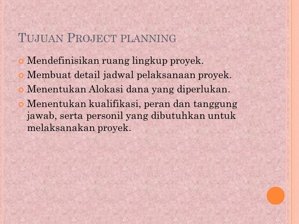 T UJUAN P ROJECT PLANNING Mendefinisikan ruang lingkup proyek.