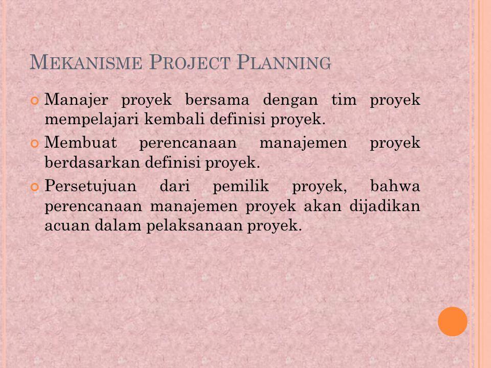 M EKANISME P ROJECT P LANNING Manajer proyek bersama dengan tim proyek mempelajari kembali definisi proyek.