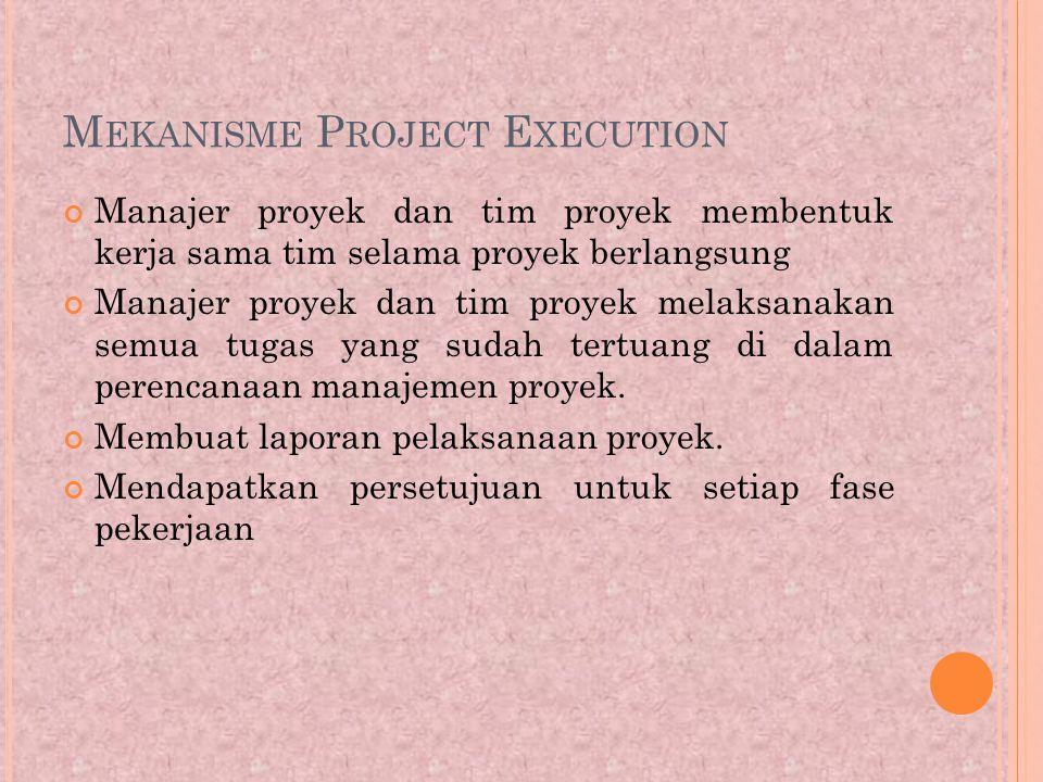 M EKANISME P ROJECT E XECUTION Manajer proyek dan tim proyek membentuk kerja sama tim selama proyek berlangsung Manajer proyek dan tim proyek melaksanakan semua tugas yang sudah tertuang di dalam perencanaan manajemen proyek.