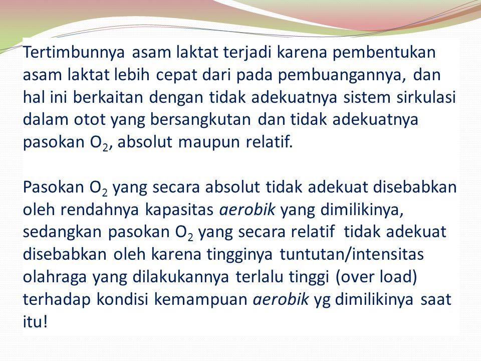 PROSES TERJADINYA KELELAHAN SUMBER (GIRIWIJOYO, 2006: 227) KERJA/ OLAHRAGA ANAEROBIK (TANPA O2) OLAHDAYA METABO- LISME AEROBIK (+O2) ENERGI SAMPAHKELELAHAN KERJA/ OLAHRAGA OKSIDATIF SIRKULATIF PEMBU- ANGAN