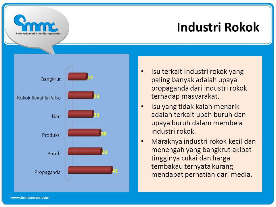 Industri Rokok Isu terkait Industri rokok yang paling banyak adalah upaya propaganda dari industri rokok terhadap masyarakat.