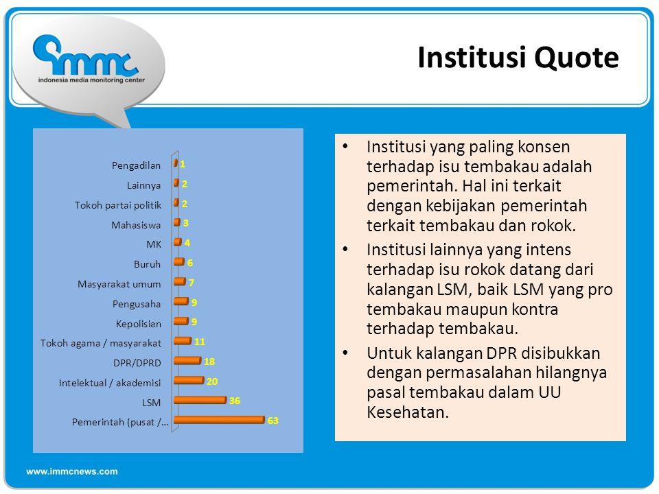Institusi Quote Institusi yang paling konsen terhadap isu tembakau adalah pemerintah.