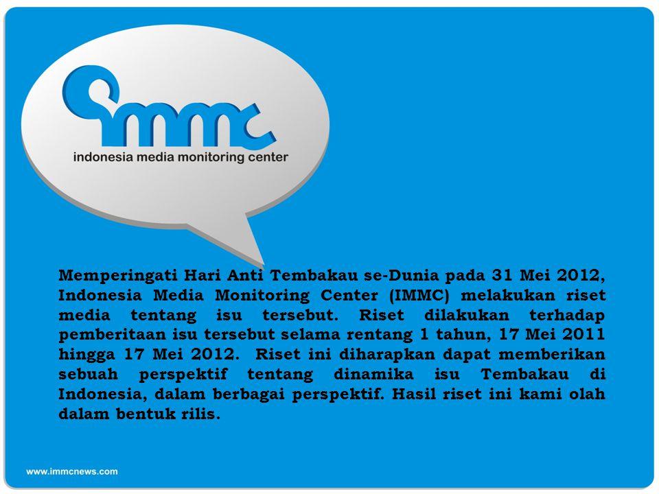 Memperingati Hari Anti Tembakau se-Dunia pada 31 Mei 2012, Indonesia Media Monitoring Center (IMMC) melakukan riset media tentang isu tersebut.