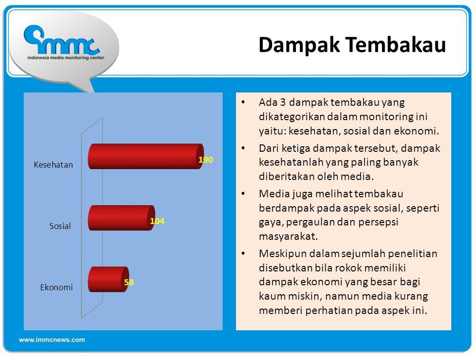 Dampak Tembakau Ada 3 dampak tembakau yang dikategorikan dalam monitoring ini yaitu: kesehatan, sosial dan ekonomi.