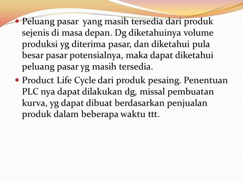 Peluang pasar yang masih tersedia dari produk sejenis di masa depan. Dg diketahuinya volume produksi yg diterima pasar, dan diketahui pula besar pasar