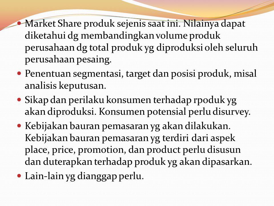 Market Share produk sejenis saat ini. Nilainya dapat diketahui dg membandingkan volume produk perusahaan dg total produk yg diproduksi oleh seluruh pe