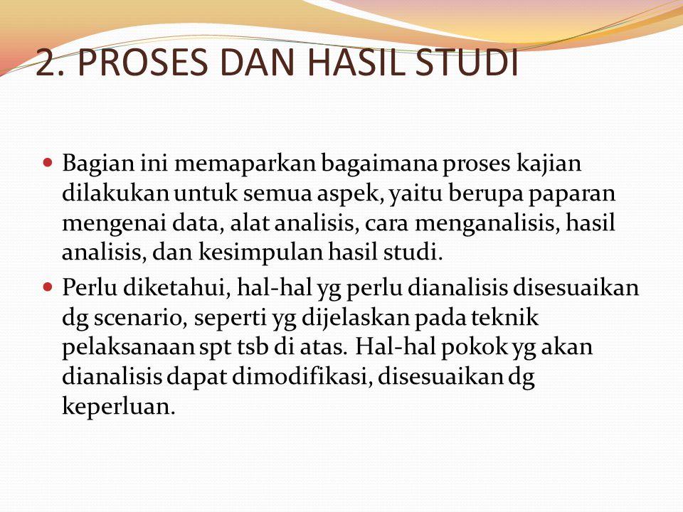 2. PROSES DAN HASIL STUDI Bagian ini memaparkan bagaimana proses kajian dilakukan untuk semua aspek, yaitu berupa paparan mengenai data, alat analisis