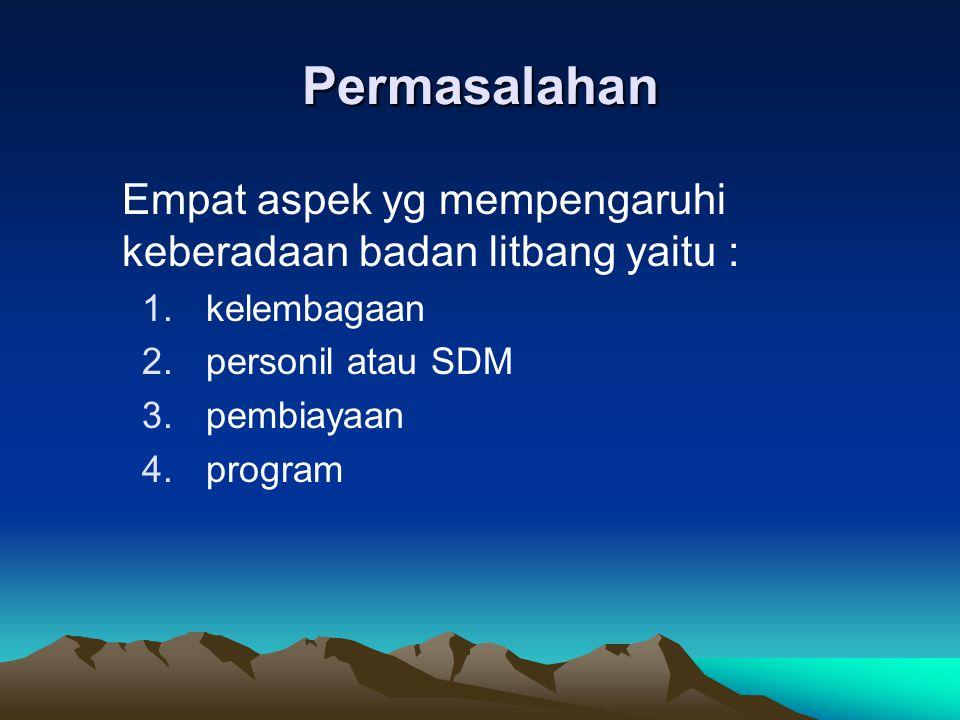 Permasalahan Empat aspek yg mempengaruhi keberadaan badan litbang yaitu : 1.kelembagaan 2.personil atau SDM 3.pembiayaan 4.program