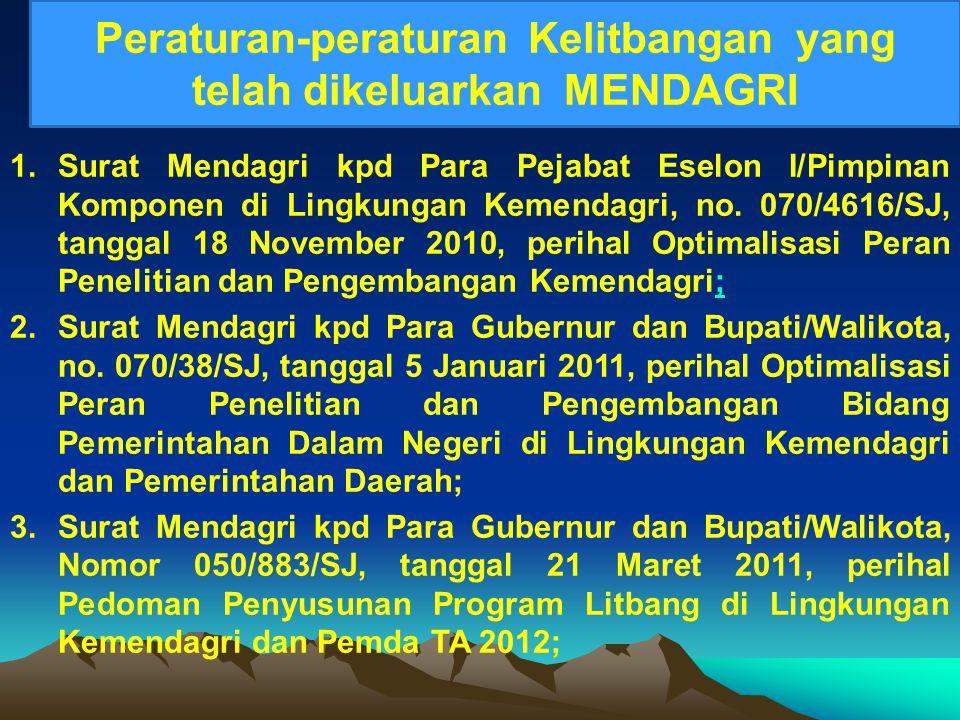 1.Surat Mendagri kpd Para Pejabat Eselon I/Pimpinan Komponen di Lingkungan Kemendagri, no. 070/4616/SJ, tanggal 18 November 2010, perihal Optimalisasi