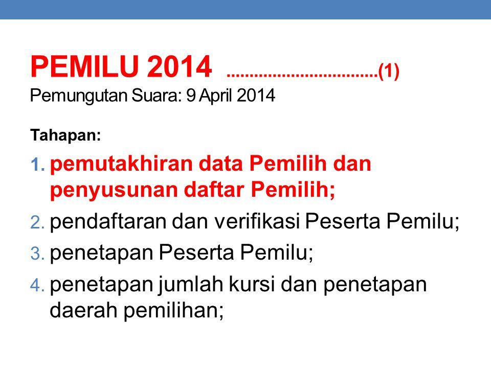 PEMILU 2014.................................(1) Pemungutan Suara: 9 April 2014 Tahapan: 1. pemutakhiran data Pemilih dan penyusunan daftar Pemilih; 2.