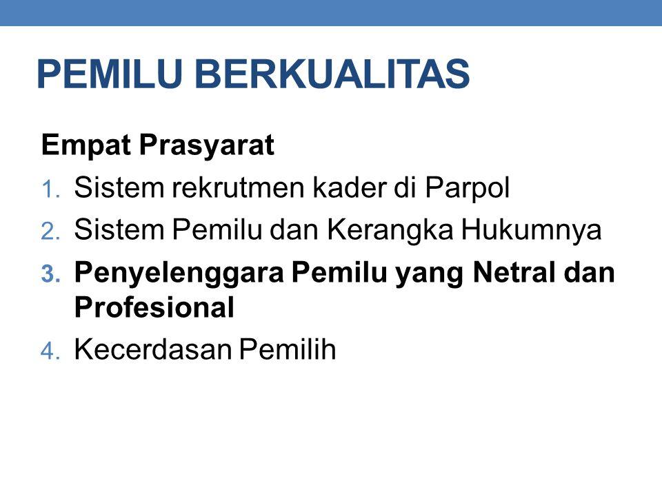 PEMILU BERKUALITAS Empat Prasyarat 1. Sistem rekrutmen kader di Parpol 2. Sistem Pemilu dan Kerangka Hukumnya 3. Penyelenggara Pemilu yang Netral dan