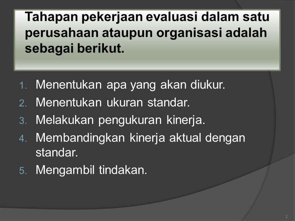 Tahapan pekerjaan evaluasi dalam satu perusahaan ataupun organisasi adalah sebagai berikut. 1. Menentukan apa yang akan diukur. 2. Menentukan ukuran s