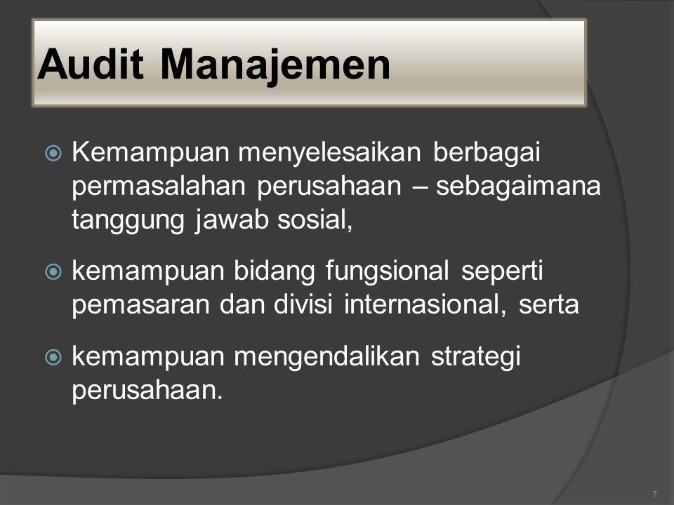 Audit Manajemen  Kemampuan menyelesaikan berbagai permasalahan perusahaan – sebagaimana tanggung jawab sosial,  kemampuan bidang fungsional seperti pemasaran dan divisi internasional, serta  kemampuan mengendalikan strategi perusahaan.