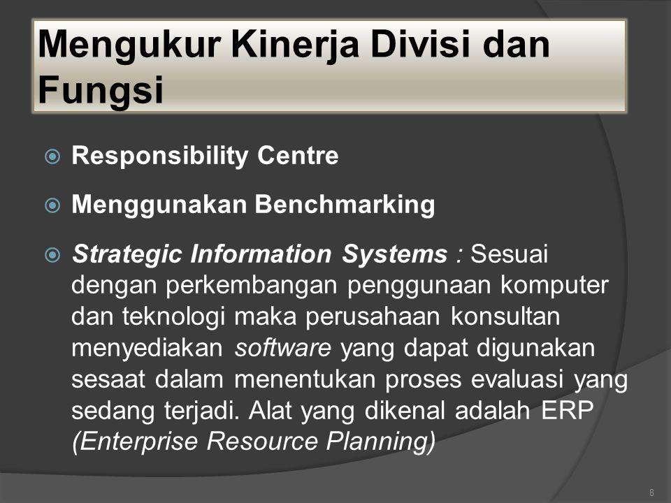 Mengukur Kinerja Divisi dan Fungsi  Responsibility Centre  Menggunakan Benchmarking  Strategic Information Systems : Sesuai dengan perkembangan penggunaan komputer dan teknologi maka perusahaan konsultan menyediakan software yang dapat digunakan sesaat dalam menentukan proses evaluasi yang sedang terjadi.
