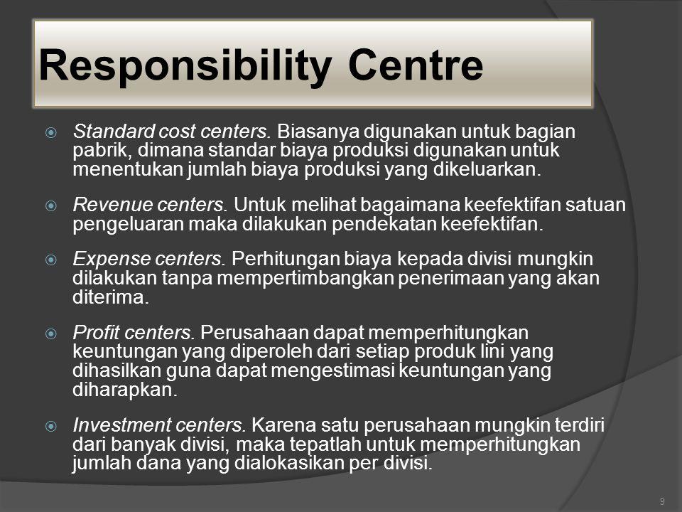 Responsibility Centre  Standard cost centers. Biasanya digunakan untuk bagian pabrik, dimana standar biaya produksi digunakan untuk menentukan jumlah