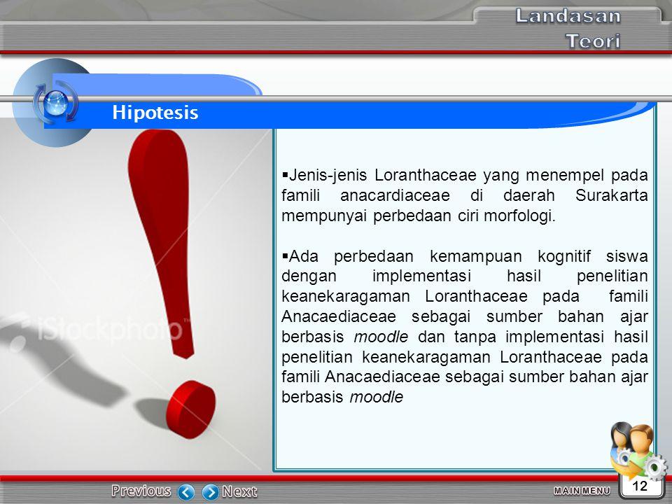  Jenis-jenis Loranthaceae yang menempel pada famili anacardiaceae di daerah Surakarta mempunyai perbedaan ciri morfologi.