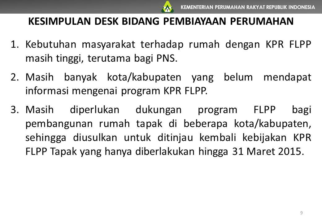 KEMENTERIAN PERUMAHAN RAKYAT REPUBLIK INDONESIA 9 KESIMPULAN DESK BIDANG PEMBIAYAAN PERUMAHAN 1.Kebutuhan masyarakat terhadap rumah dengan KPR FLPP masih tinggi, terutama bagi PNS.