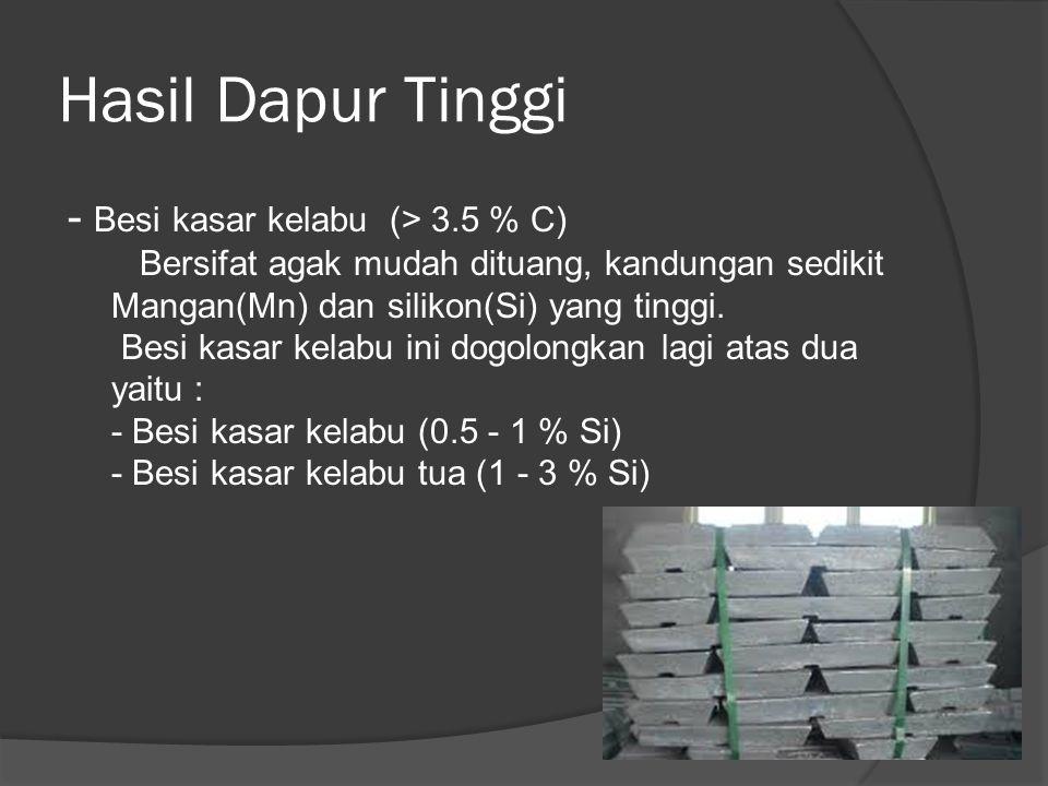 Hasil Dapur Tinggi - Besi kasar kelabu (> 3.5 % C) Bersifat agak mudah dituang, kandungan sedikit Mangan(Mn) dan silikon(Si) yang tinggi. Besi kasar k