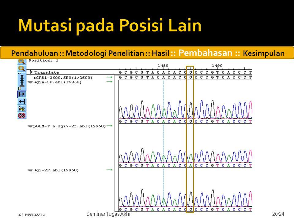  Ditemukan mutasi yang ada pada setiap sampel, yaitu A1438G  Terdapat mutasi lain pada sampel hasil kloning 7, yaitu G1485A 27 Mei 201020/24Seminar Tugas Akhir Pendahuluan :: Metodologi Penelitian :: Hasil :: Pembahasan :: Kesimpulan