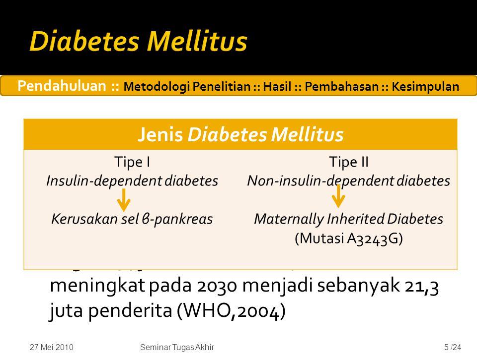  Diabetes mellitus adalah penyakit yang ditandai dengan peningkatan kadar gula darah yang terus menerus.