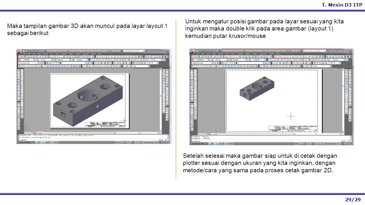 29/29 T. Mesin D3 ITP Untuk mengatur posisi gambar pada layar sesuai yang kita inginkan maka double klik pada area gambar (layout 1) kemudian putar kr