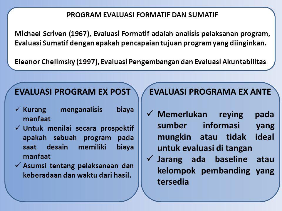 PROGRAM EVALUASI FORMATIF DAN SUMATIF Michael Scriven (1967), Evaluasi Formatif adalah analisis pelaksanan program, Evaluasi Sumatif dengan apakah pen