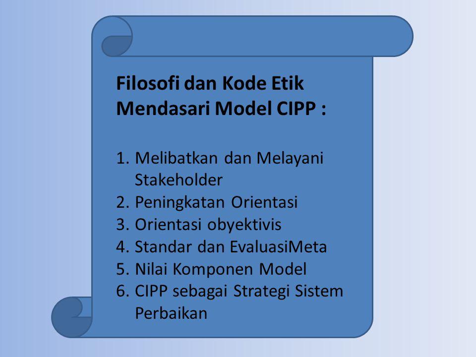 Filosofi dan Kode Etik Mendasari Model CIPP : 1.Melibatkan dan Melayani Stakeholder 2.Peningkatan Orientasi 3.Orientasi obyektivis 4.Standar dan Evalu