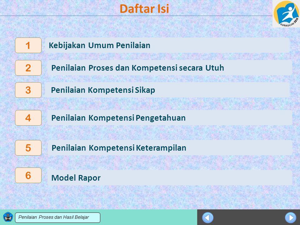 Sosialisasi KTSP Daftar Isi Model Rapor 6 3 4 5 Penilaian Kompetensi Pengetahuan Penilaian Kompetensi Keterampilan Penilaian Kompetensi Sikap Kebijaka