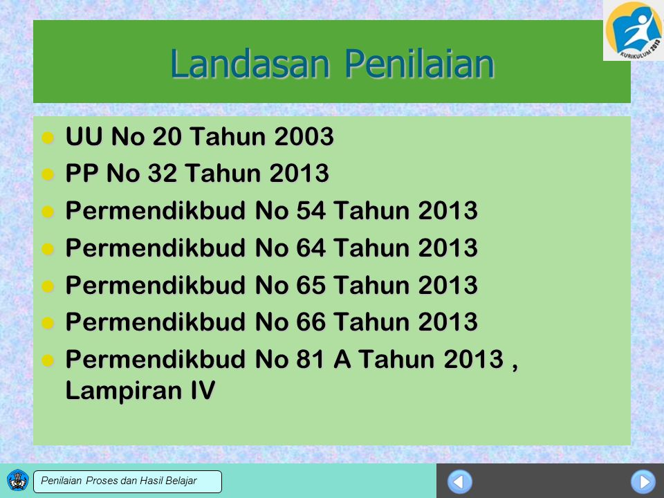 Sosialisasi KTSP Landasan Penilaian UU No 20 Tahun 2003 UU No 20 Tahun 2003 PP No 32 Tahun 2013 PP No 32 Tahun 2013 Permendikbud No 54 Tahun 2013 Perm