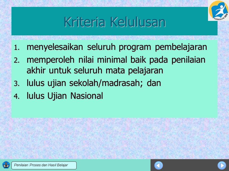 Sosialisasi KTSP Kriteria Kelulusan 1. menyelesaikan seluruh program pembelajaran 2. memperoleh nilai minimal baik pada penilaian akhir untuk seluruh