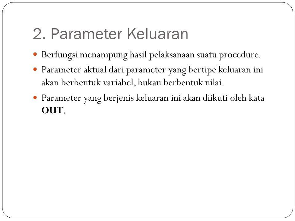 2. Parameter Keluaran Berfungsi menampung hasil pelaksanaan suatu procedure. Parameter aktual dari parameter yang bertipe keluaran ini akan berbentuk