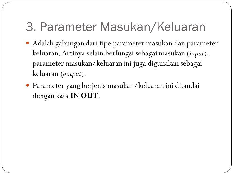 3. Parameter Masukan/Keluaran Adalah gabungan dari tipe parameter masukan dan parameter keluaran. Artinya selain berfungsi sebagai masukan (input), pa
