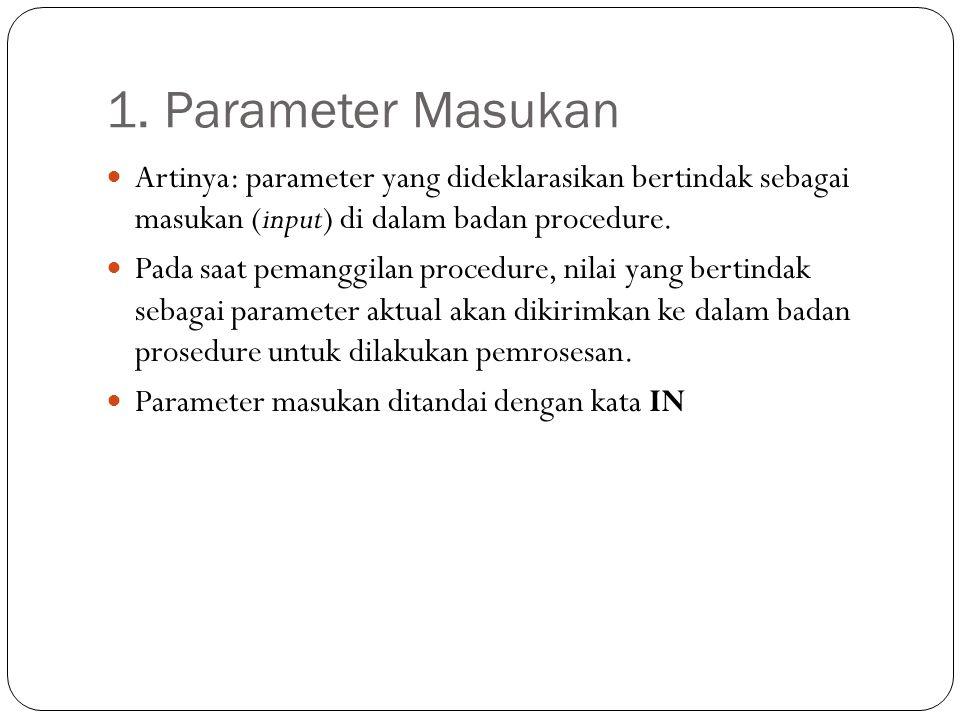 1. Parameter Masukan Artinya: parameter yang dideklarasikan bertindak sebagai masukan (input) di dalam badan procedure. Pada saat pemanggilan procedur