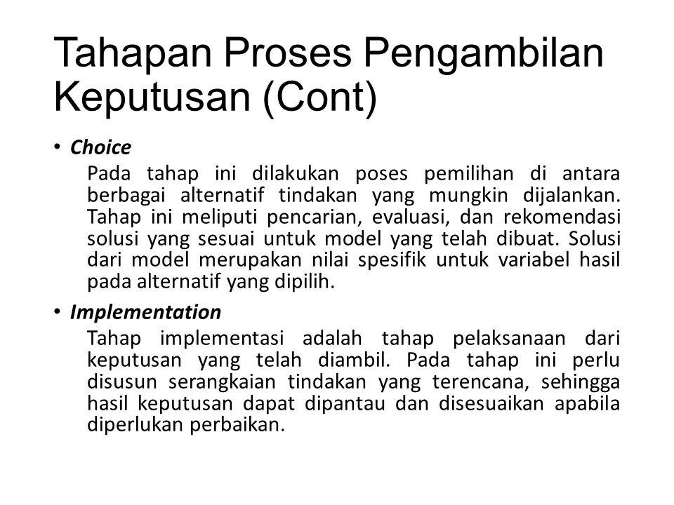 Tahapan Proses Pengambilan Keputusan (Cont) Choice Pada tahap ini dilakukan poses pemilihan di antara berbagai alternatif tindakan yang mungkin dijalankan.