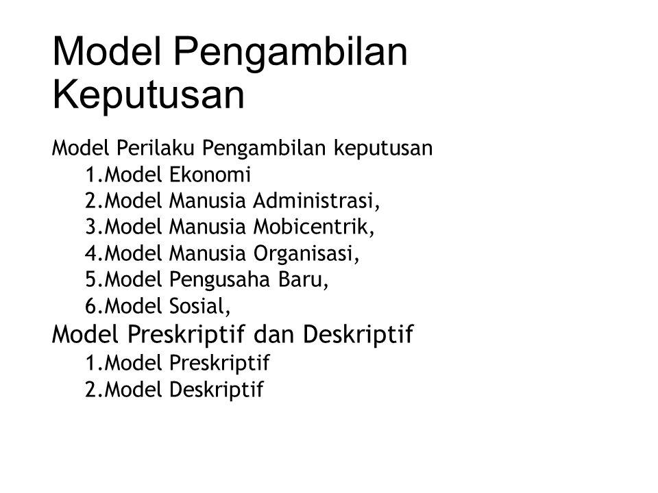 Model Pengambilan Keputusan Model Perilaku Pengambilan keputusan 1.Model Ekonomi 2.Model Manusia Administrasi, 3.Model Manusia Mobicentrik, 4.Model Manusia Organisasi, 5.Model Pengusaha Baru, 6.Model Sosial, Model Preskriptif dan Deskriptif 1.Model Preskriptif 2.Model Deskriptif