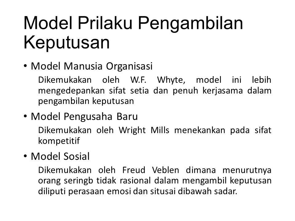 Model Prilaku Pengambilan Keputusan Model Manusia Organisasi Dikemukakan oleh W.F.