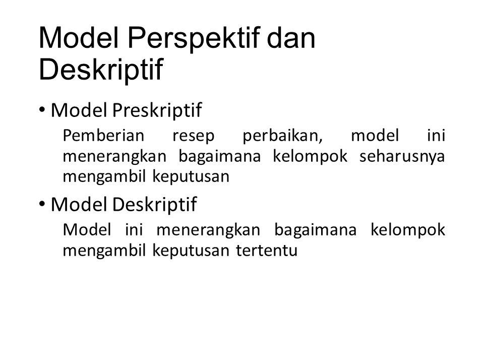 Model Perspektif dan Deskriptif Model Preskriptif Pemberian resep perbaikan, model ini menerangkan bagaimana kelompok seharusnya mengambil keputusan Model Deskriptif Model ini menerangkan bagaimana kelompok mengambil keputusan tertentu