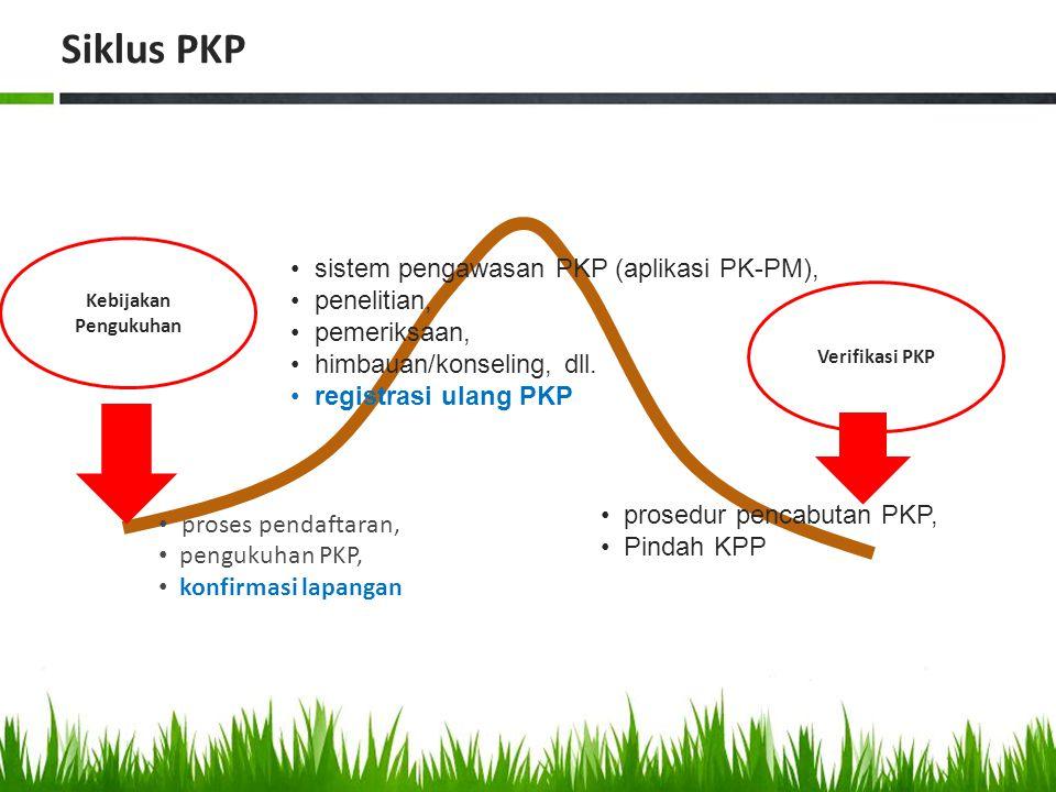 proses pendaftaran, pengukuhan PKP, konfirmasi lapangan sistem pengawasan PKP (aplikasi PK-PM), penelitian, pemeriksaan, himbauan/konseling, dll. regi