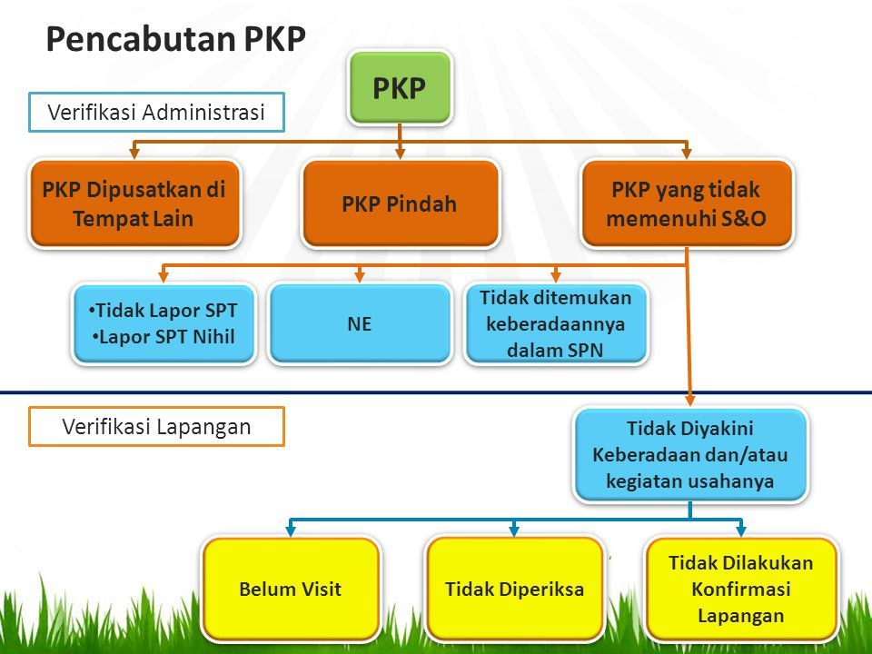 PKP Dipusatkan di Tempat Lain PKP PKP Pindah Tidak Diyakini Keberadaan dan/atau kegiatan usahanya Tidak Dilakukan Konfirmasi Lapangan Belum Visit Tida