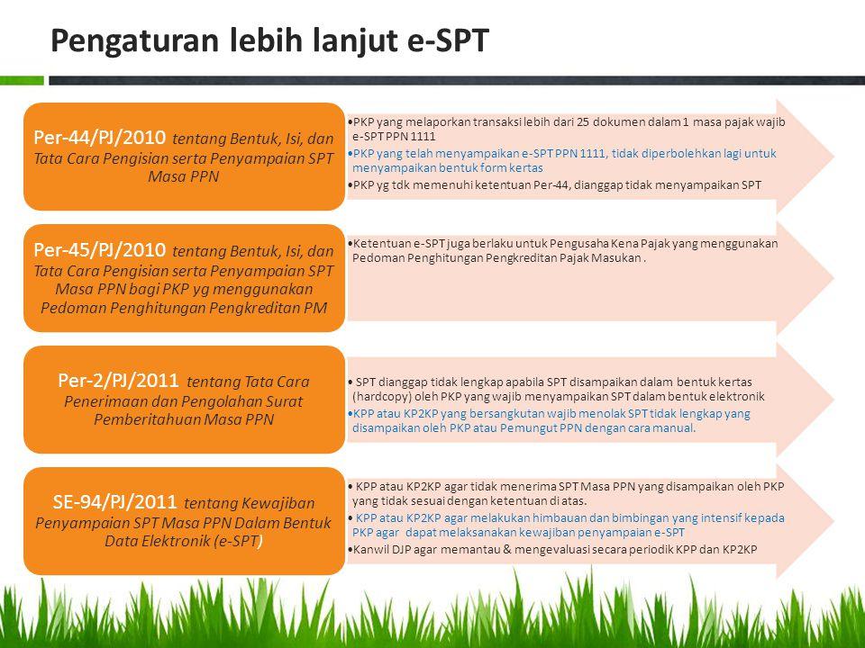 Pengaturan lebih lanjut e-SPT PKP yang melaporkan transaksi lebih dari 25 dokumen dalam 1 masa pajak wajib e-SPT PPN 1111 PKP yang telah menyampaikan