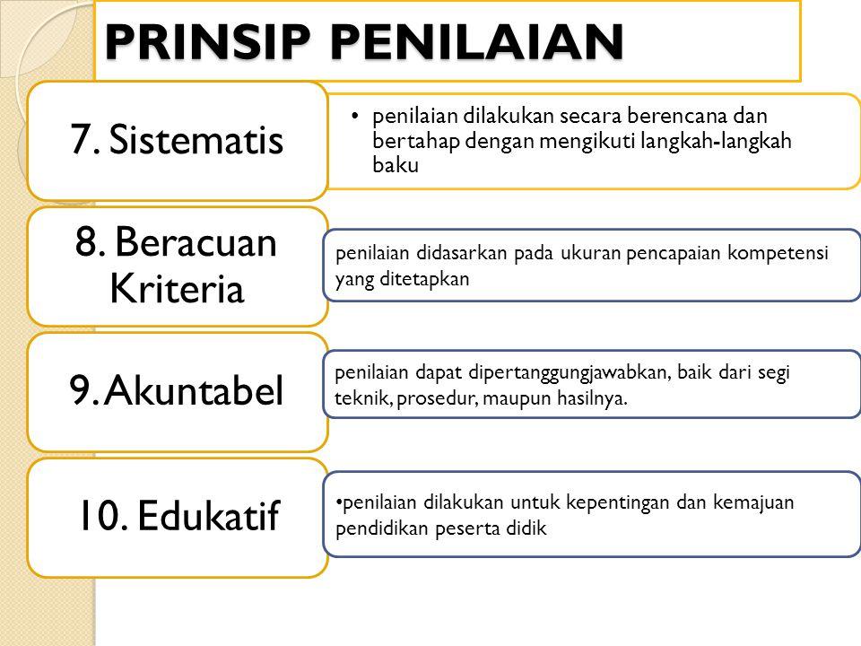 PRINSIP PENILAIAN penilaian dilakukan secara berencana dan bertahap dengan mengikuti langkah-langkah baku 7. Sistematis 8. Beracuan Kriteria 9. Akunta