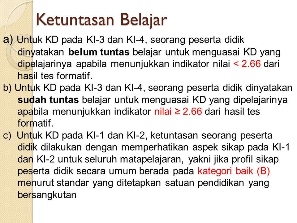a) Untuk KD pada KI-3 dan KI-4, seorang peserta didik dinyatakan belum tuntas belajar untuk menguasai KD yang dipelajarinya apabila menunjukkan indika