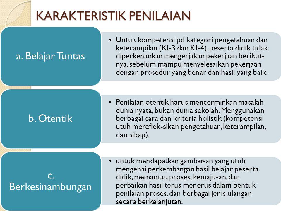 KARAKTERISTIK PENILAIAN Untuk kompetensi pd kategori pengetahuan dan keterampilan (KI-3 dan KI-4), peserta didik tidak diperkenankan mengerjakan peker