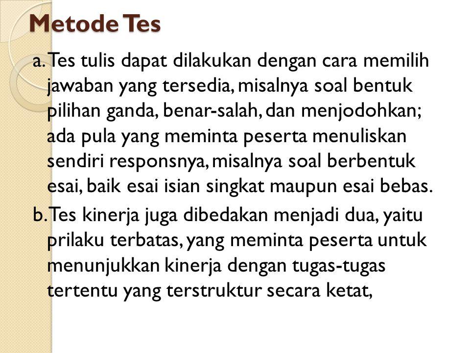 Metode Tes a.