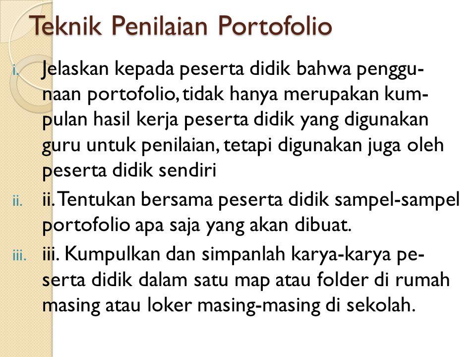 Teknik Penilaian Portofolio i.