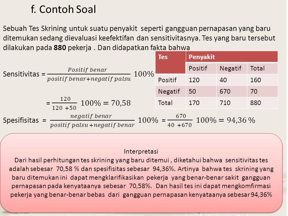 f. Contoh Soal TesPenyakit PositifNegatifTotal Positif12040160 Negatif5067070 Total170710880 Interpretasi Dari hasil perhitungan tes skrining yang bar