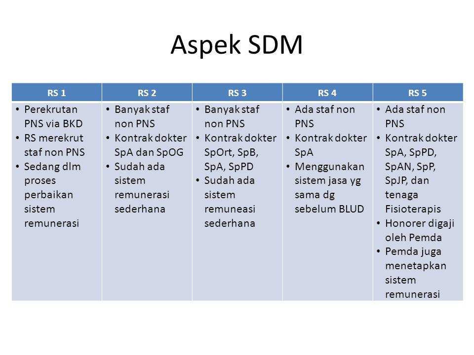 Aspek SDM RS 1RS 2RS 3RS 4RS 5 Perekrutan PNS via BKD RS merekrut staf non PNS Sedang dlm proses perbaikan sistem remunerasi Banyak staf non PNS Kontr